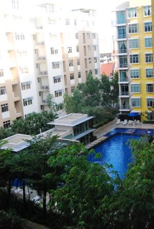 overlooking the pool area